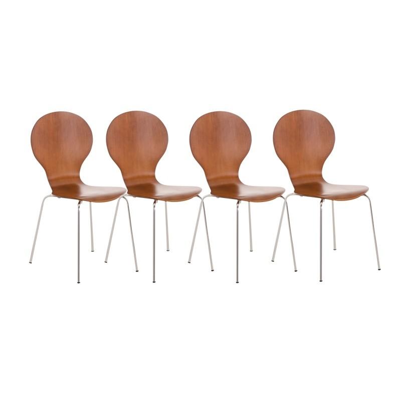 Lot de 4 chaises empilables en bois Diego