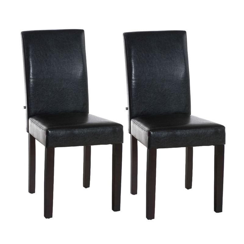 Lot de 2 chaises de salle à manger INA Marron foncé