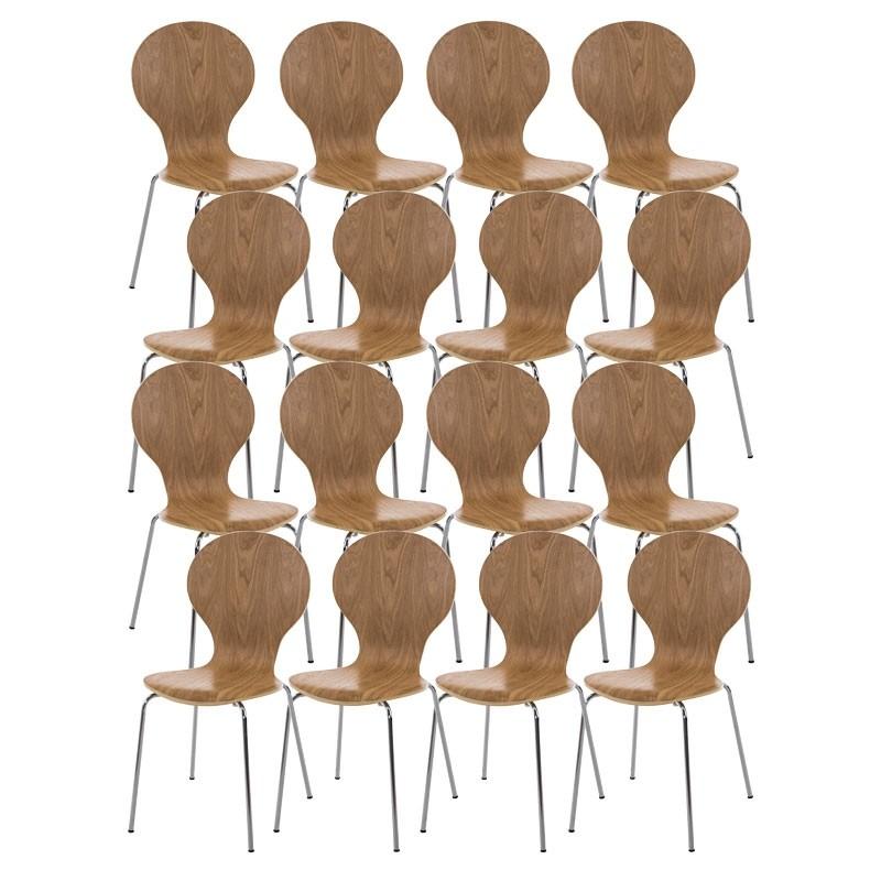 Lot de 16 chaises empilables en bois Diego
