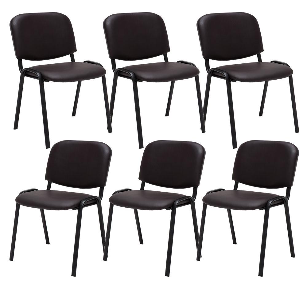 Lot de 6 chaises Visiteur Ken en similicuir