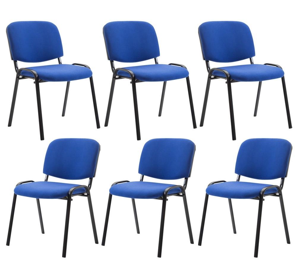 Lot de 6 chaises visiteur empilables Ken en tissu