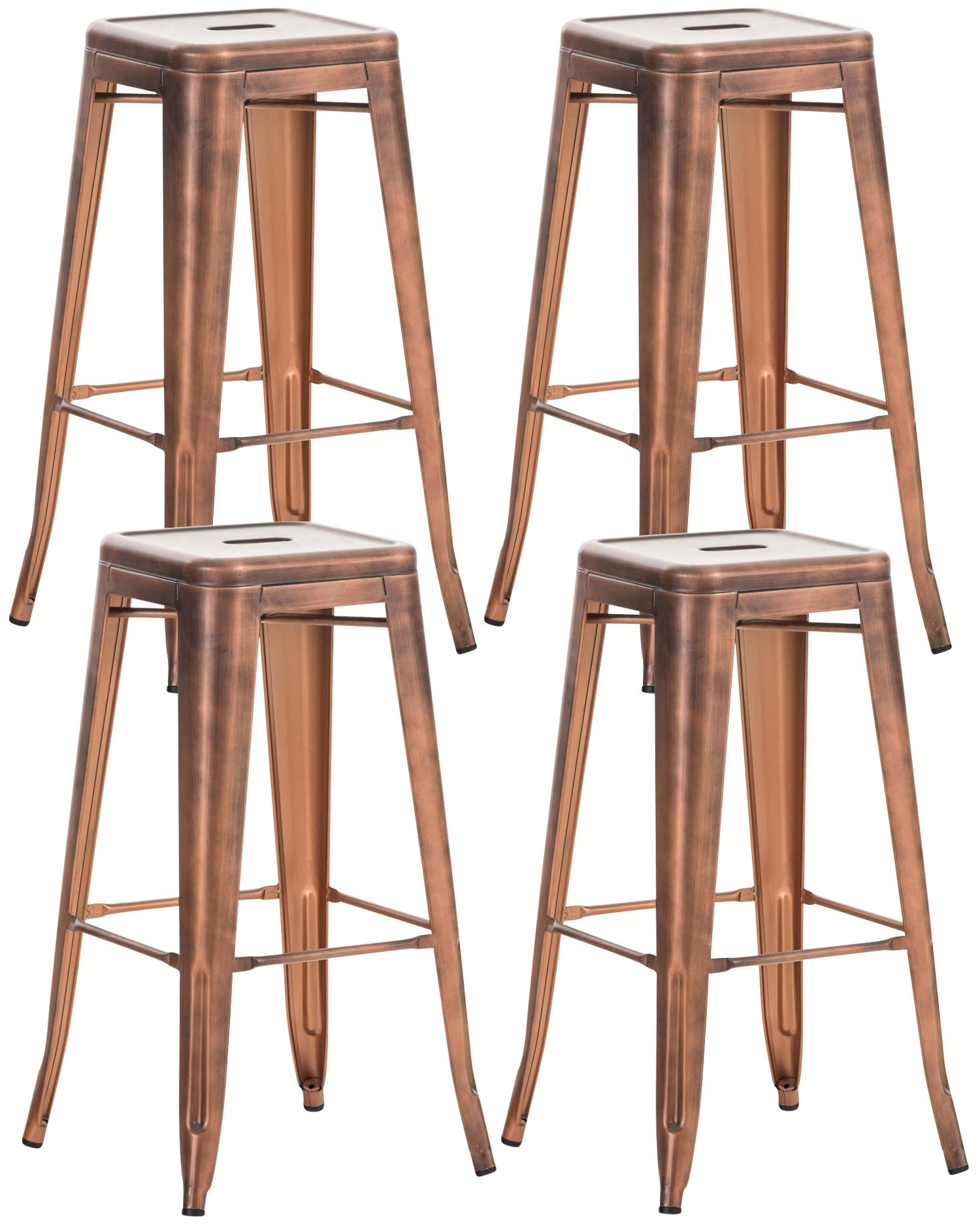Lot de 4 tabourets de bar  en métal empilables Joshua