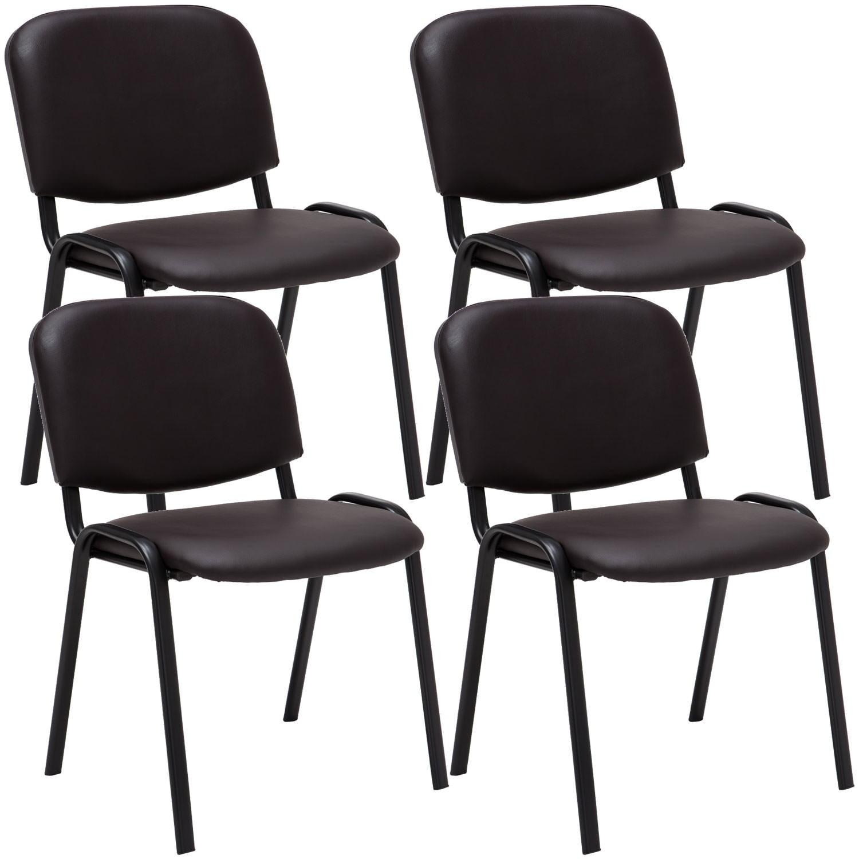 Lot de 4 chaises visiteur empilables Ken en similicuir et piètement noir