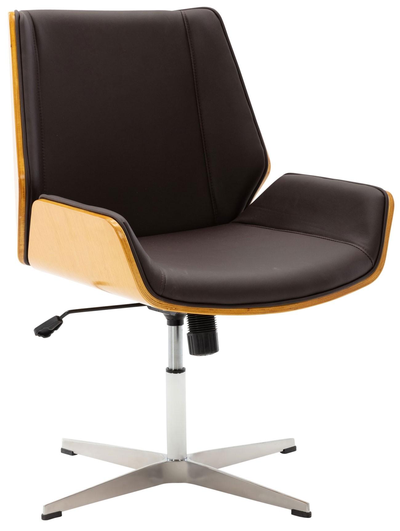 Chaise de visiteur Zwolle en similicuir avec coque de siège en bois