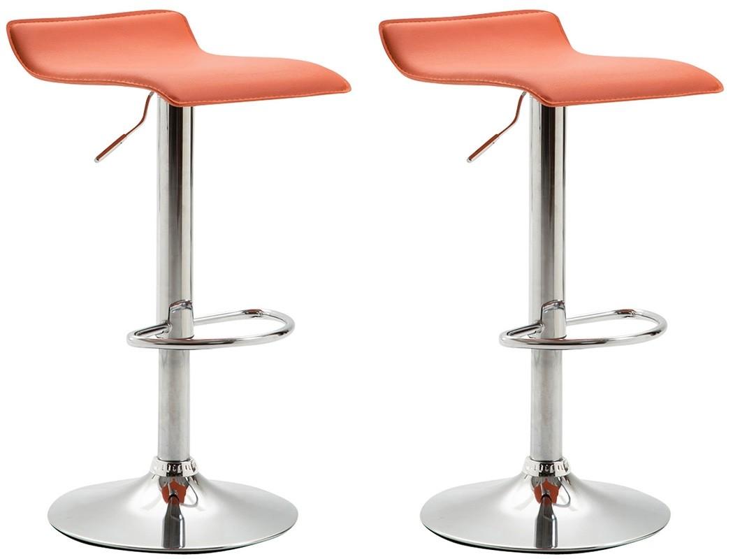 2er Set Barhocker Dyn V2 Kunstleder-orange-Chrom