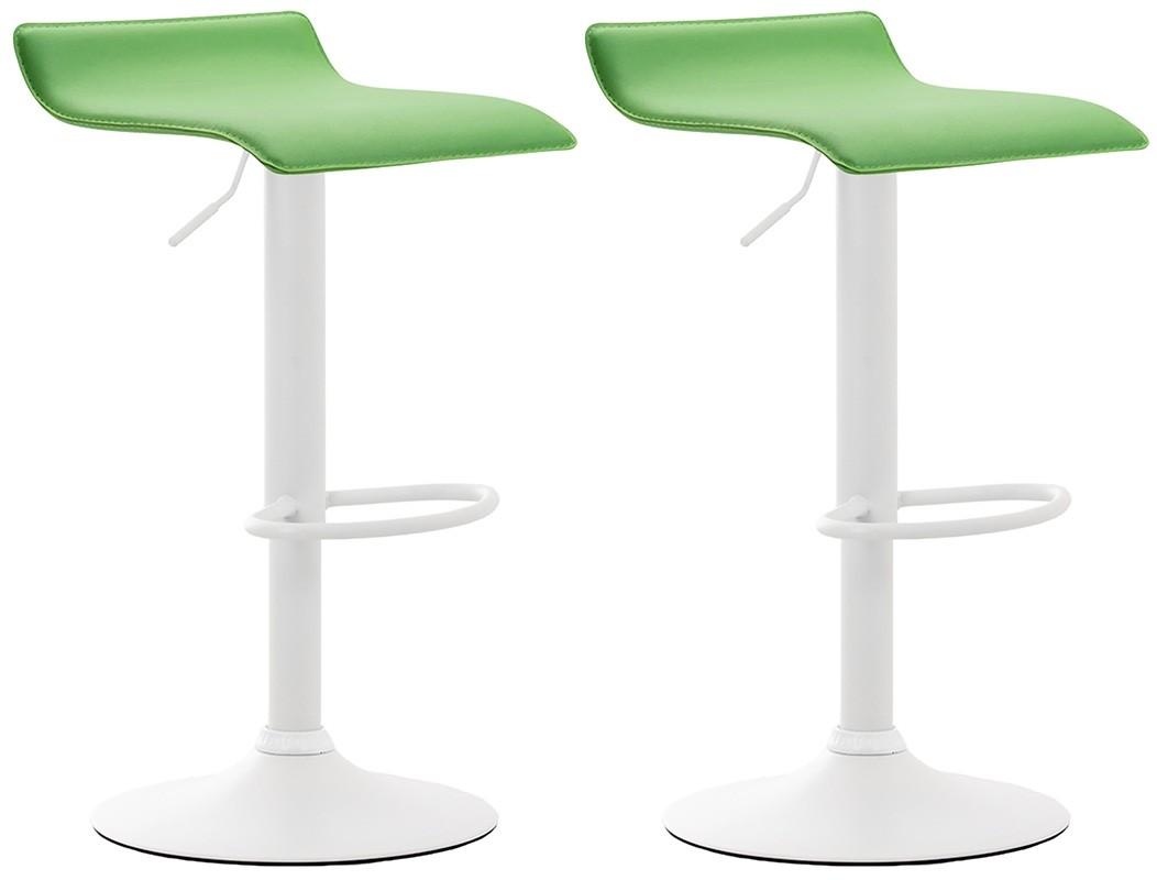 2er Set Barhocker Dyn V2 Kunstleder-grün-Weiß