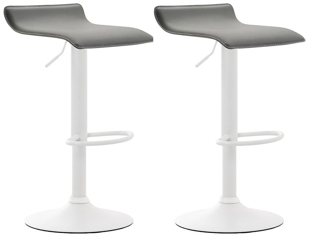 2er Set Barhocker Dyn V2 Kunstleder-grau-Weiß
