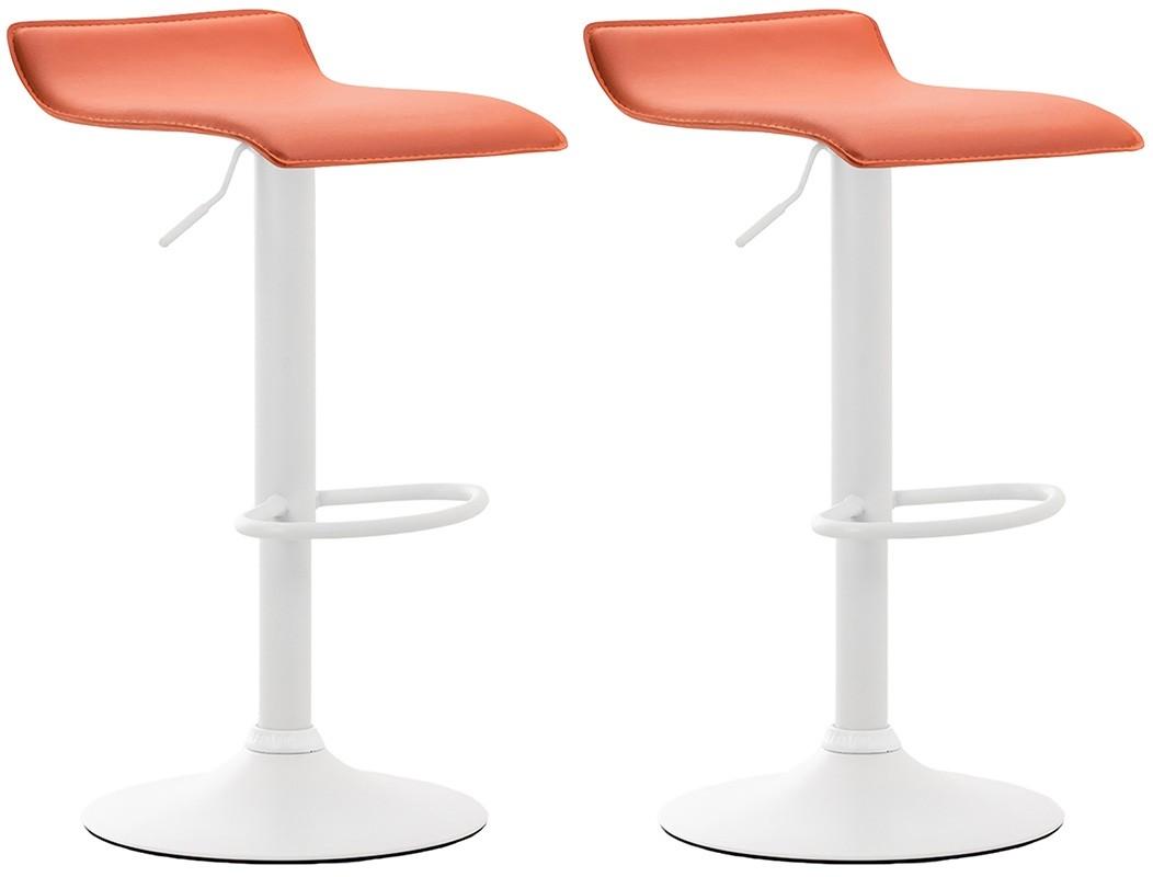 2er Set Barhocker Dyn V2 Kunstleder-orange-Weiß