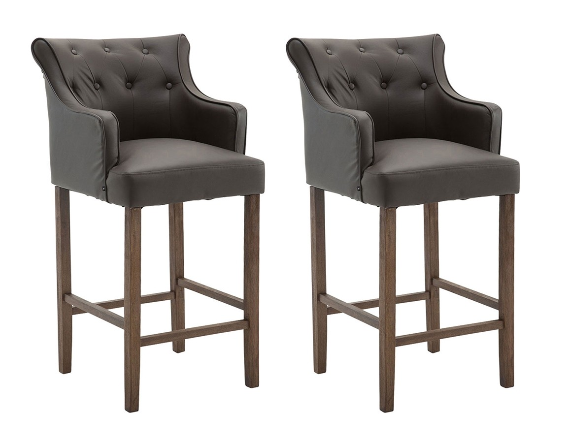 Lot de 2 tabourets de bar Lykso en cuir véritable