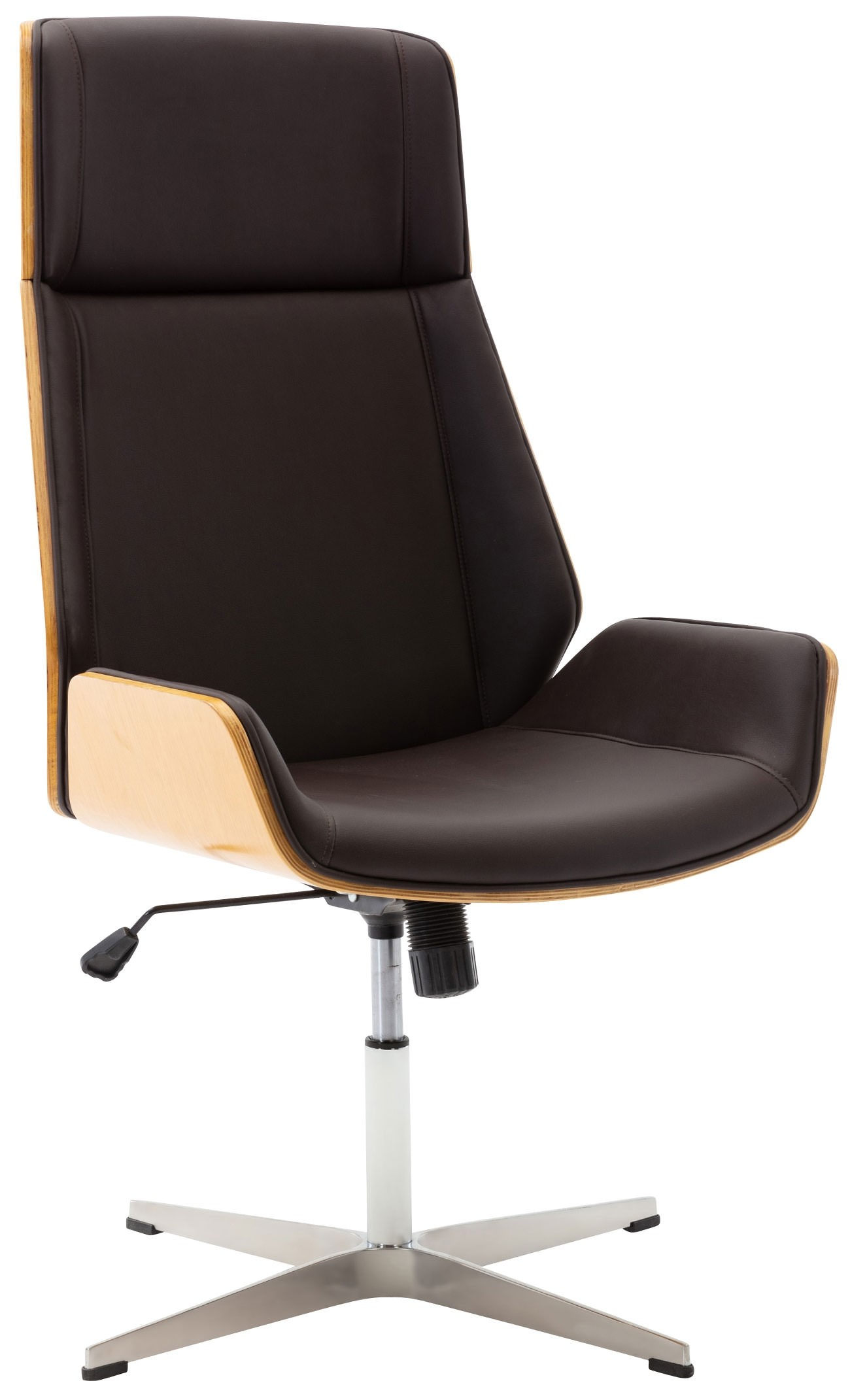 Chaise de visiteur Breda en similicuir avec coque de siège en bois