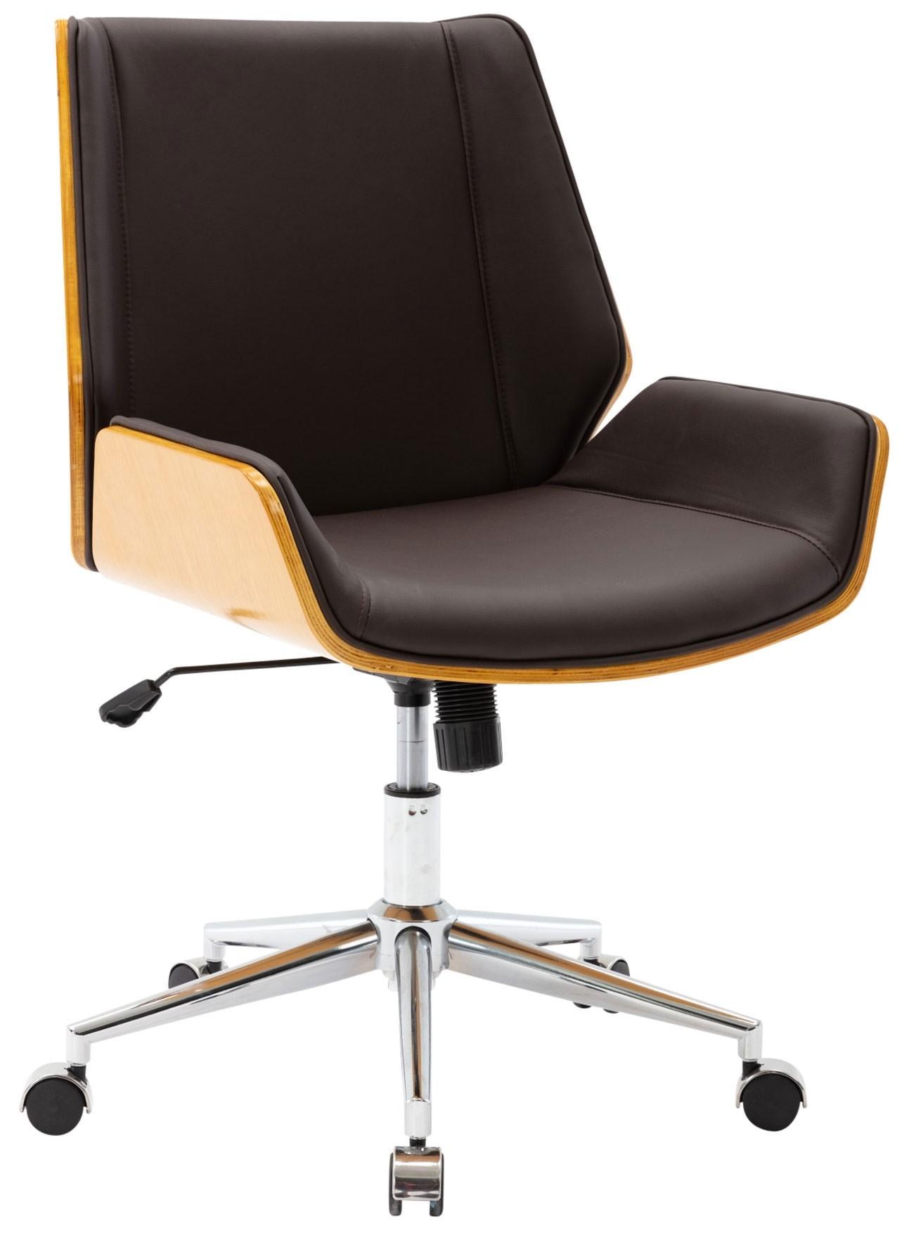 Fauteuil de bureau Zwolle en similicuir avec coque d'assise en bois
