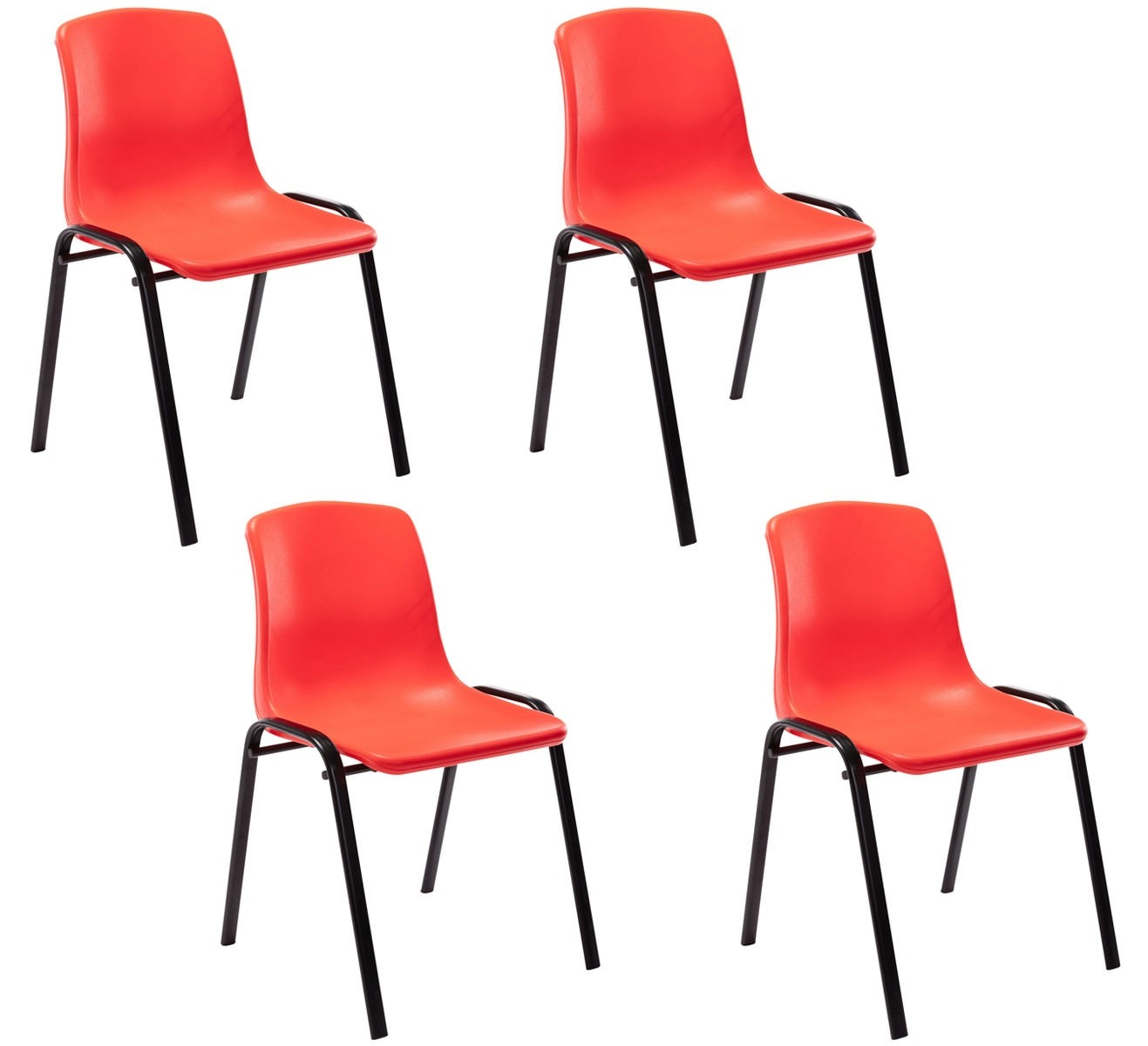 Lot de 4 chaises empilables Nowra avec assise en plastique et piètement en métal noir mat