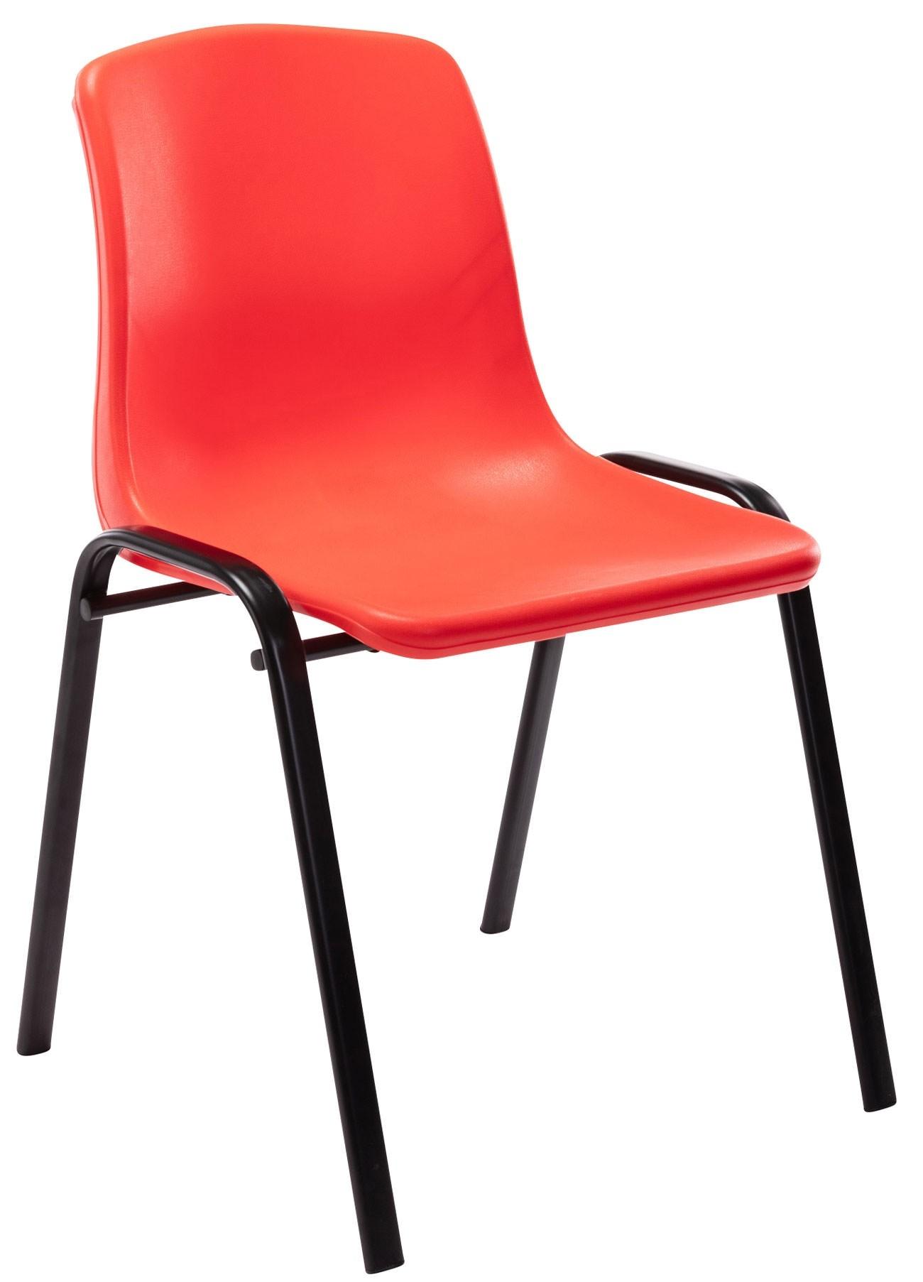 Chaise empilable Nowra avec assise en plastique et piètement en métal noir mat