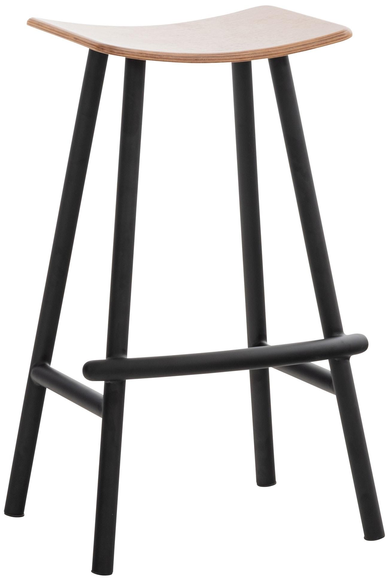 Tabouret de bar Embu au style industriel avec assise en bois