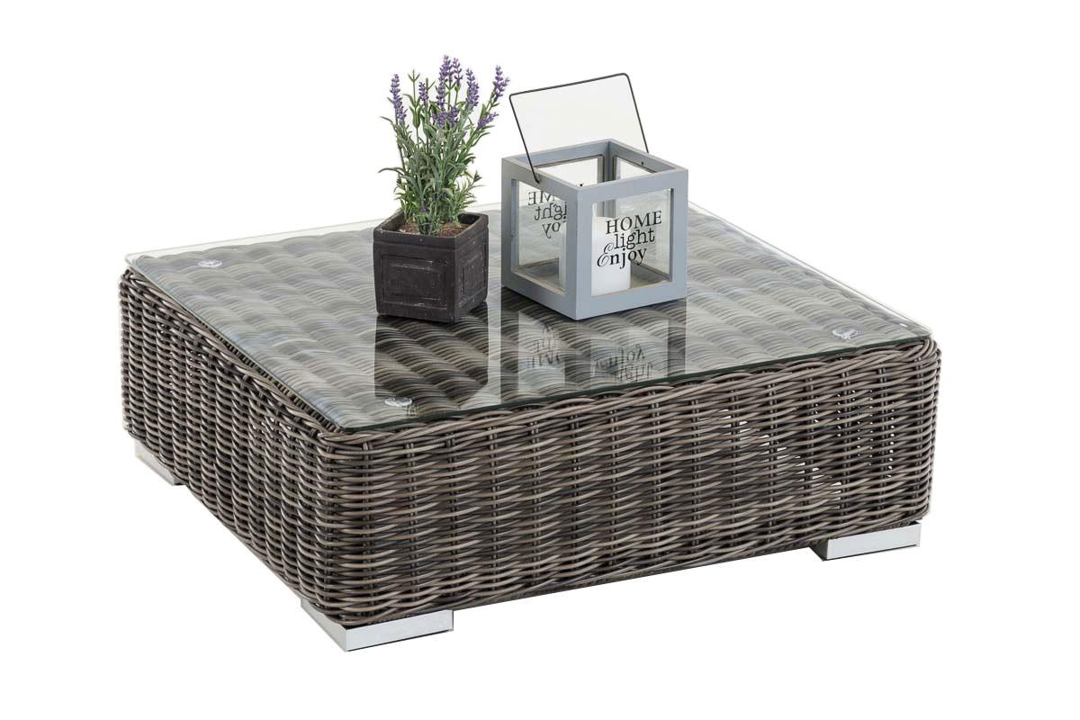 Table avec plateau en verre Pamplona 70 x 70 cm