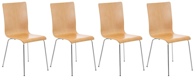 Lot de 4 chaises visiteur Pepe en bois
