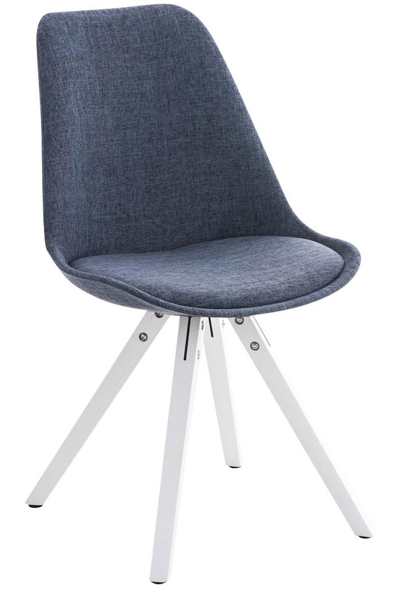Chaise Pegleg tissu forme carrée blanc