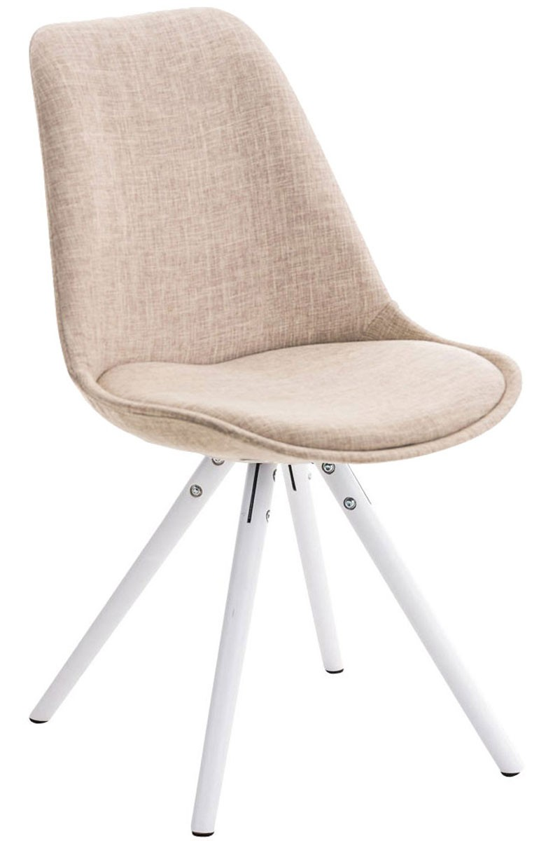 Chaise Pegleg tissu blanc