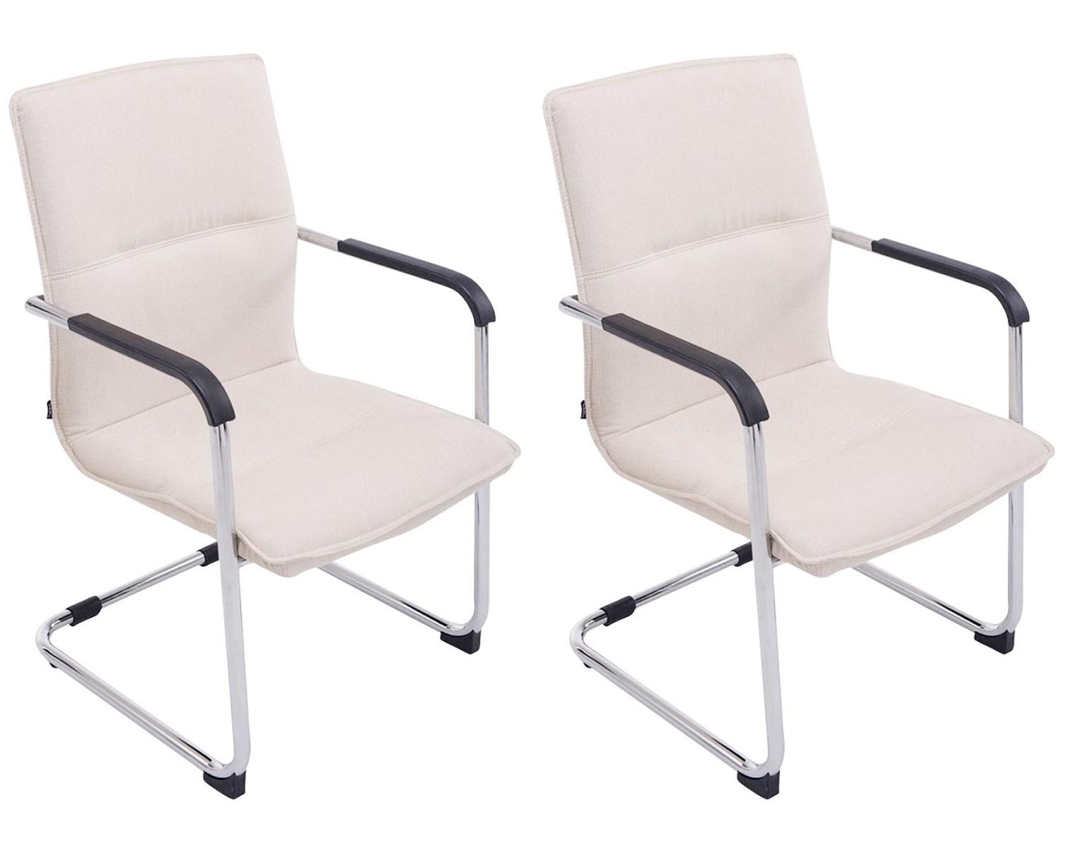 Lot de 2 chaises Seattle en Tissu - Chaise oscillante - Piètement Luge en Métal chromé