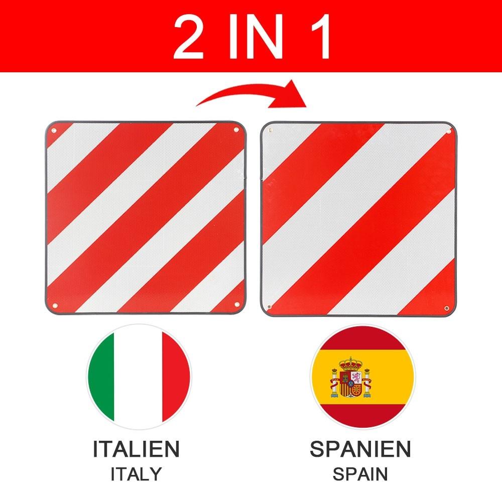 Panneau d'avertissement pour dépassement en longueur homologué Espagne Et Italie