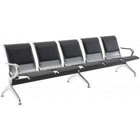 Banc de salle et zone d'attente 5 places / Chaises sur poutre Airport en similicuir