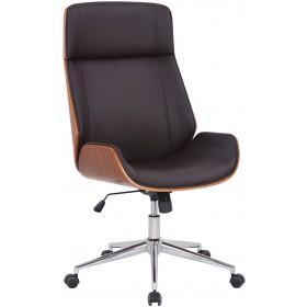 Fauteuil de bureau Varel en similicuir avec coque de siège en bois