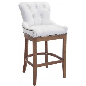 Tabouret de bar Buckingham cuir véritable antique-clair
