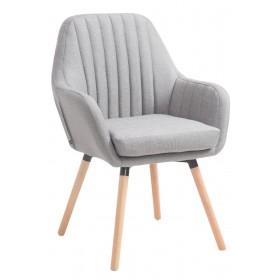 Chaise de Salle à manger Florian en tissu avec Piètement en bois de hêtre ou de chêne